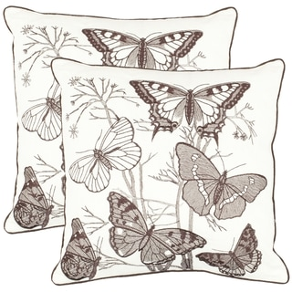Safavieh Butterflies 18-inch White Decorative Pillows (Set of 2)