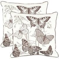 Safavieh Butterflies 18-inch White Decorative Pillows (Set of 2)