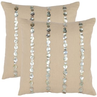 Safavieh Awe 18-inch Almond Decorative Pillows (Set of 2)