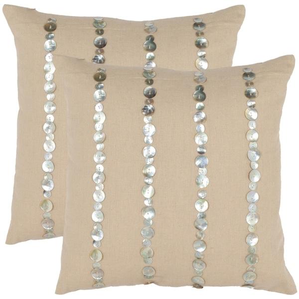 Safavieh Awe 18-inch Almond Decorative Pillows (Set of 2)