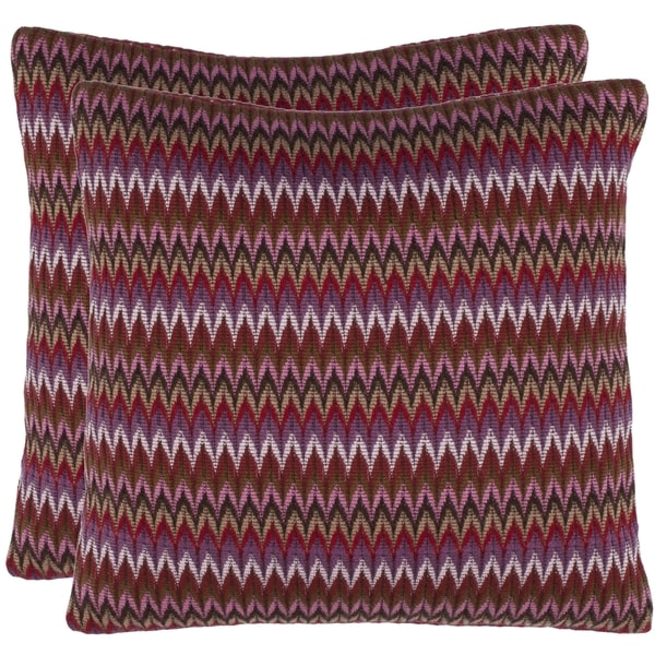Safavieh Zigs 18-inch Raspberry Red Decorative Pillows (Set of 2)