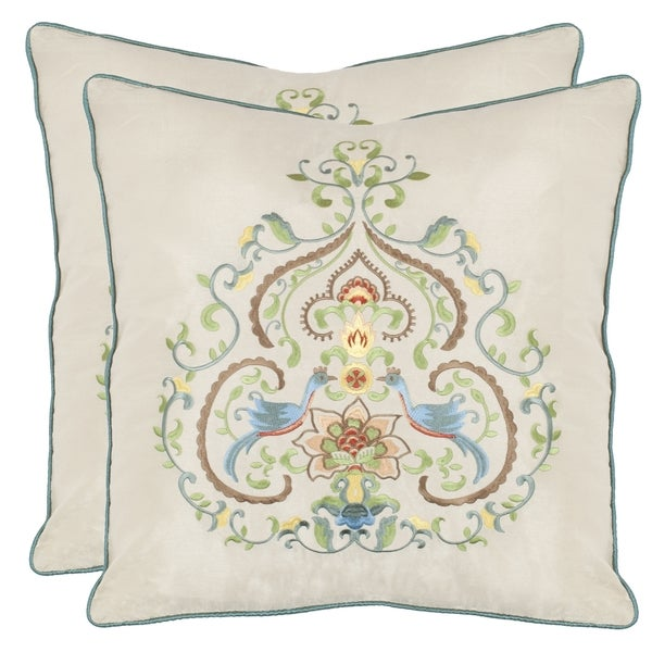 Safavieh Love Birds 18-inch Cream Decorative Pillows (Set of 2)