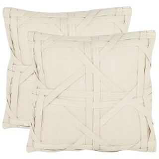 Safavieh Cane Weave 18-inch Beige Decorative Pillows (Set of 2)