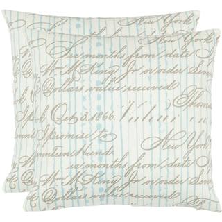 Safavieh Vintage Script 18-inch White Decorative Pillows (Set of 2)