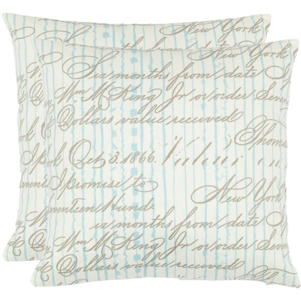 Safavieh Vintage Script 18-inch White Decorative Pillows (Set of 2)