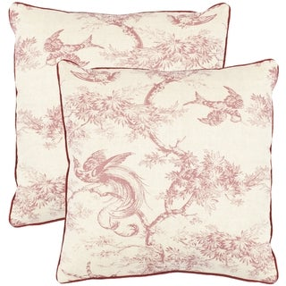 Safavieh Sanctuary 18-inch White/ Raspberry Red Decorative Pillows (Set of 2)