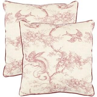 Safavieh Sanctuary 18-inch White/ Raspberry Red Decorative Pillows (Set of 2)