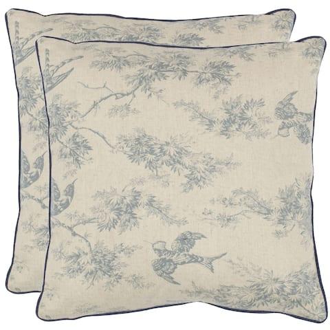 Safavieh Sanctuary 18-inch White/ Blue Decorative Pillows (Set of 2)