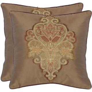 Safavieh Regal 18-inch Tan Decorative Pillows (Set of 2)