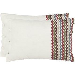 Safavieh Zags 13-inch x 19-inch White Decorative Pillows (Set of 2)