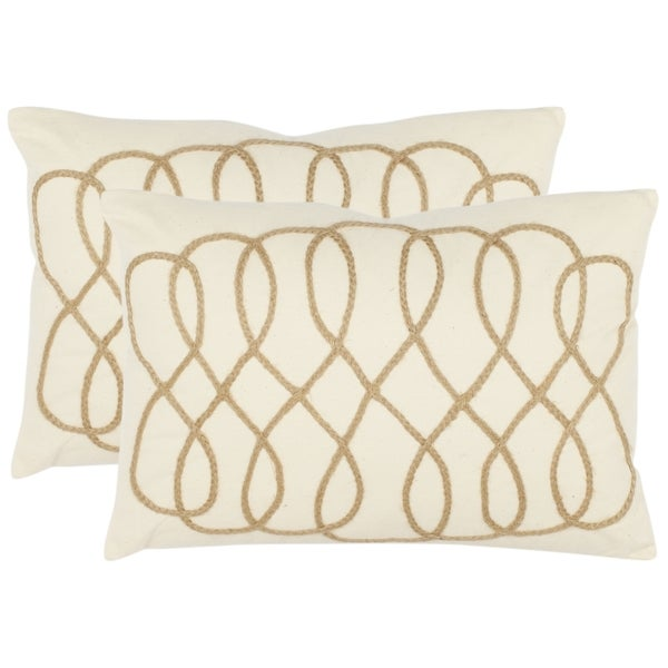 Safavieh Frieze 13-inch x 19-inch White Decorative Pillows (Set of 2)