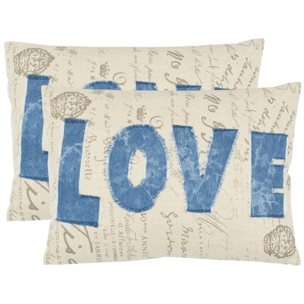 Safavieh Love 13-inch x 19-inch Beige Decorative Pillows (Set of 2)
