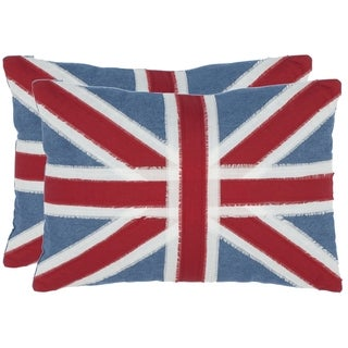 Safavieh Union Jack 13-inch x 19-inch Red Decorative Pillows (Set of 2)
