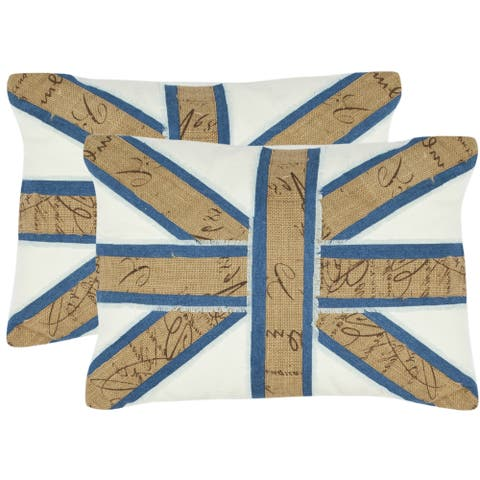 Safavieh Union Jack 13-inch x 19-inch White Decorative Pillows (Set of 2)