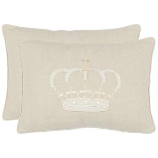 Safavieh Crown 13-inch x 19-inch Cream Decorative Pillows (Set of 2)