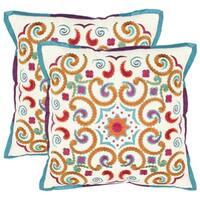 Safavieh Kaleidoscope 18-inch White Decorative Pillows (Set of 2)