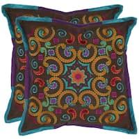 Safavieh Kaleidoscope 18-inch Brown Decorative Pillows (Set of 2)