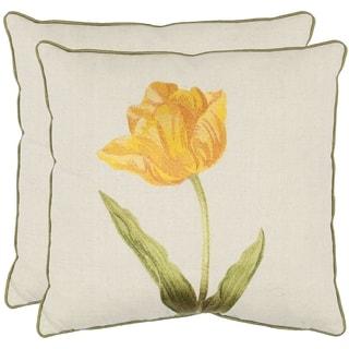 Safavieh Solitude 18-inch White/ Gold Decorative Pillows (Set of 2)