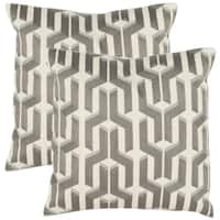 Safavieh Pieces 18-inch White/ Silver Decorative Pillows (Set of 2)
