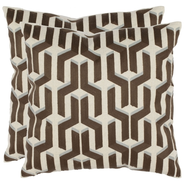 Safavieh Pieces 18-inch White/ Brown Decorative Pillows (Set of 2)