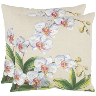 Safavieh Orchid 18-inch Beige Decorative Pillows (Set of 2)