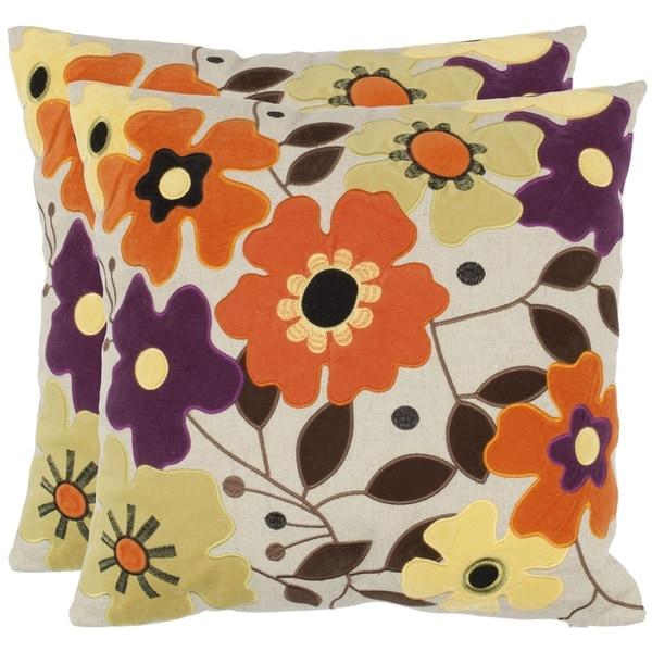 Safavieh Daises 18-inch Beige Decorative Pillows (Set of 2)