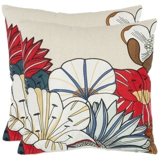 Safavieh Floral 18-inch Beige Decorative Pillows (Set of 2)