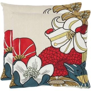 Safavieh Floral Garden 18-inch Beige Decorative Pillows (Set of 2)