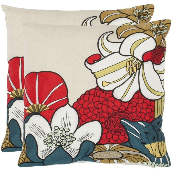 Safavieh Floral Garden 18-inch Beige Decorative Pillows (Set of 2)