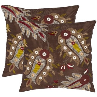 Safavieh Paisleys 18-inch Brown Decorative Pillows (Set of 2)