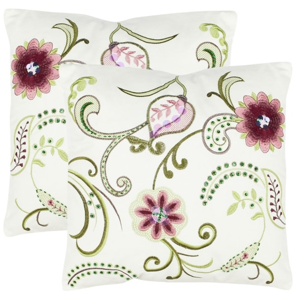 Safavieh Paradise 18-inch Cream Decorative Pillows (Set of 2)