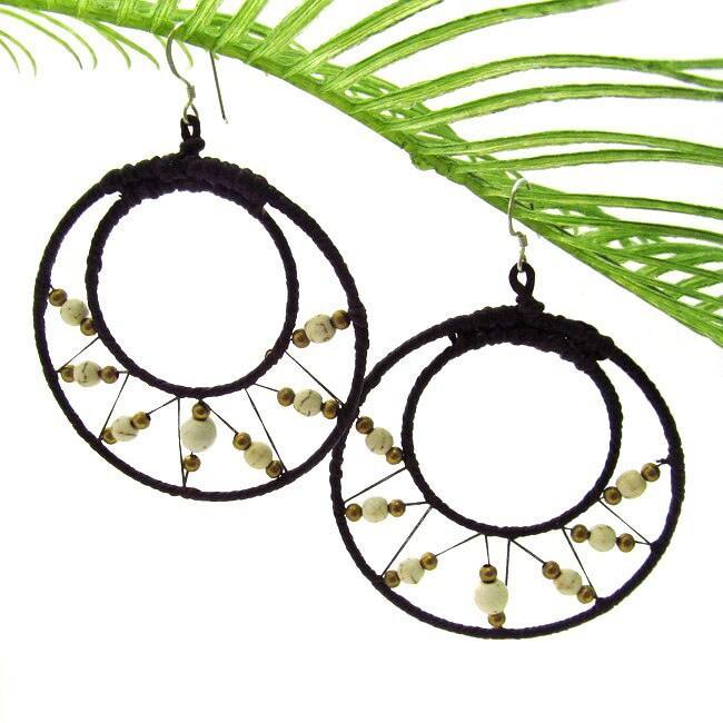Pretty White Turquoise-Brass Web Hoop Earrings (Thailand)