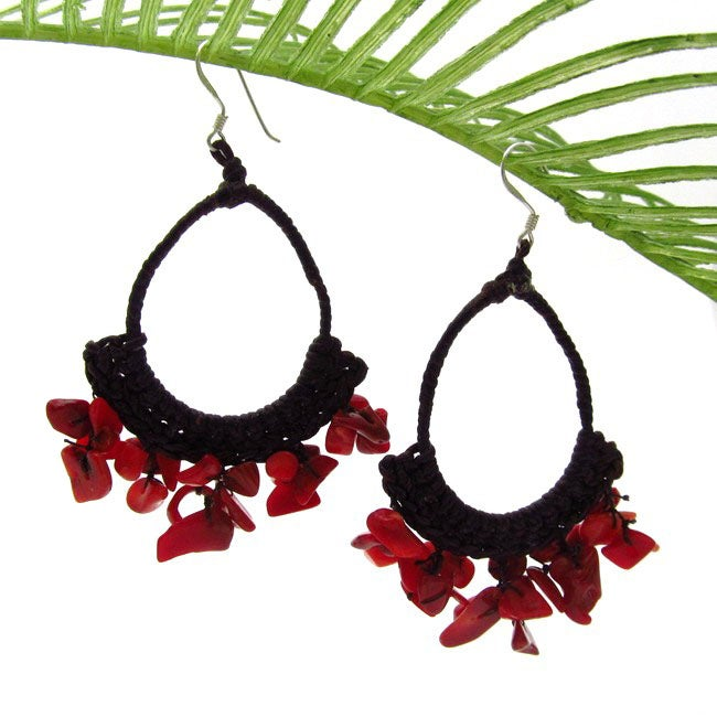 Romantic Chandelier Red Coral Dangle Hoop Earrings (Thailand)