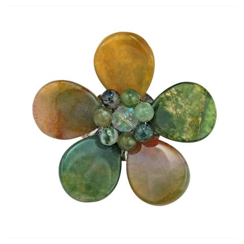 Handmade Multicolor Jasper Floral Purity Pin Brooch (Thailand)