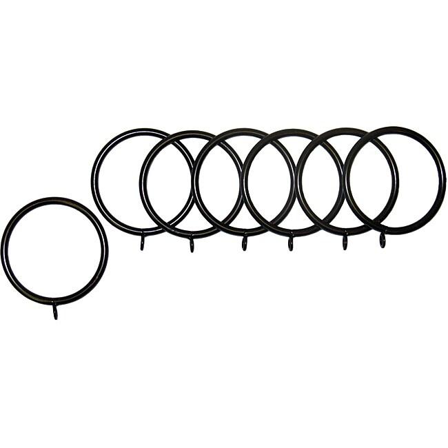 English Walnut Fixed Grommet Metal Rings (Set of 7)