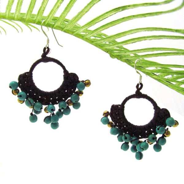 Handmade Blue Paradise Turquoise Stone Cotton Rope Chandelier Earrings (Thailand)