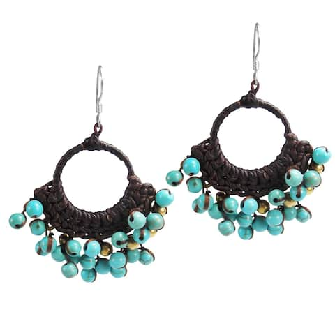 Handmade Blue Paradise Turquoise Cotton Rope Chandelier Earrings (Thailand)