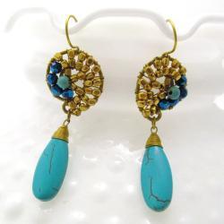 Handmade Graceful Teardrop Blue Turquise Brass Embellished Earrings (Thailand) - Thumbnail 1