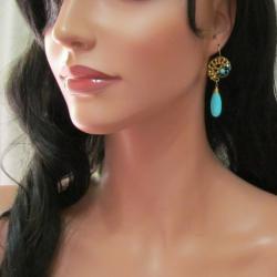 Handmade Graceful Teardrop Blue Turquise Brass Embellished Earrings (Thailand) - Thumbnail 2