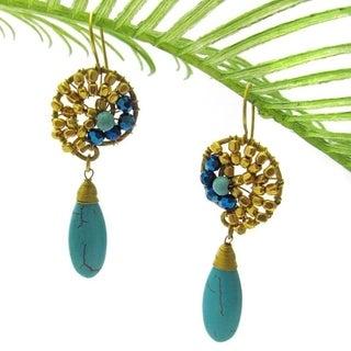 Handmade Graceful Teardrop Blue Turquise Brass Embellished Earrings (Thailand)
