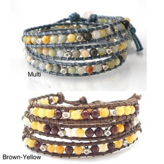 Multicolor Medley Multistone Triple Wrap Braided Leather Bracelet (Thailand)