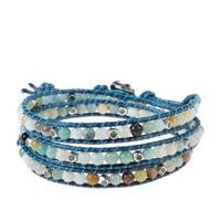 Handmade Multicolor Medley Multistone Triple Wrap Braided Leather Bracelet (Thailand)