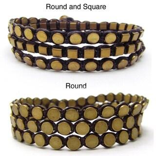 Handmade Tribal Honey Shine Brass Metal Cotton Rope Bracelet (Thailand)
