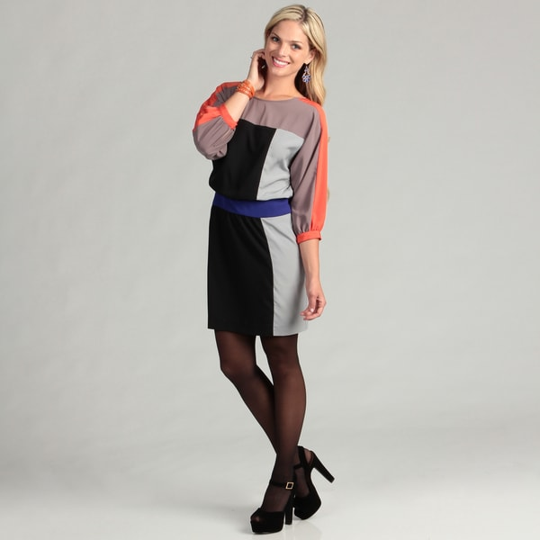 Eliza J Women's 3/4-sleeve Colorblock Dress FINAL SALE