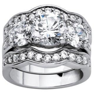 PalmBeach 3 Piece 4.43 TCW Round Cubic Zirconia Bridal Ring Set in Silvertone Glam CZ