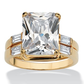 7.56 TCW Emerald-Cut Cubic Zirconia 14k Yellow Gold-Plated Bridal Engagement Ring Wedding