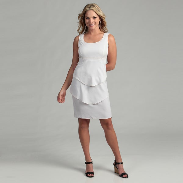 ABS Silver Label Women's White Tiered Dress