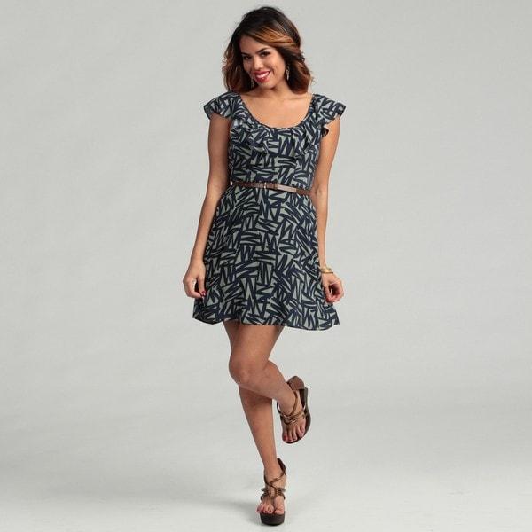 BCBG Generation Women's Flounce-sleeve Ruffle Neck Dress