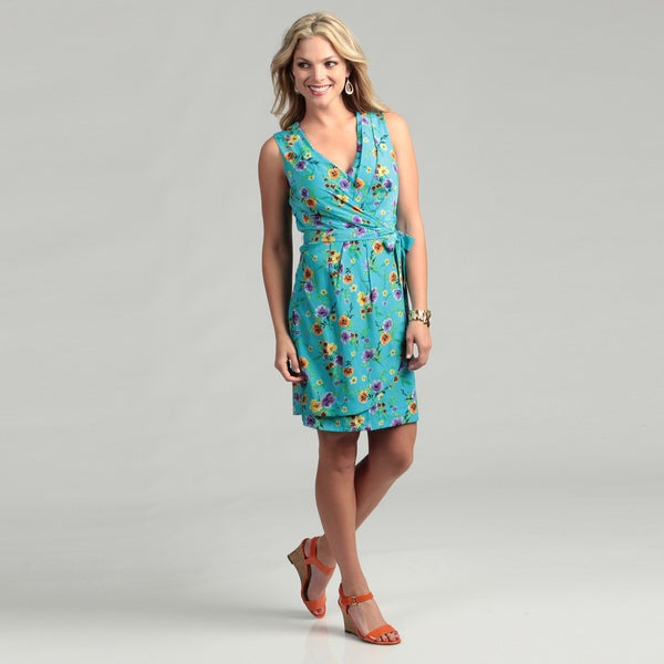 Emma &amp Michele Women&39s Blue Floral Wrap Dress - Free Shipping On ...