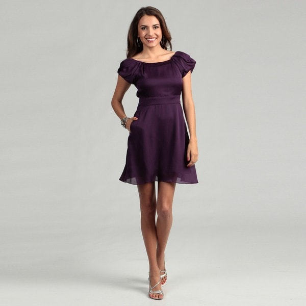 BCBG Generation Women's Ultraviolet Pleated Sleeves Dress